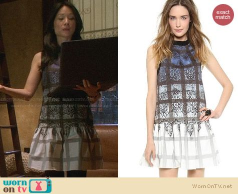 Tibi Lace Plaid Ombre Dress worn by Lucy Liu on Elementary