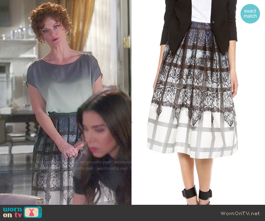Tibi Lace Plaid Ombre Skirt worn by Rebecca Wisocky on Devious Maids