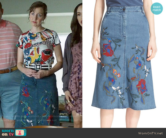Tibi Marisol Embroidered Denim Skirt worn by Carol Pilbasian on Last Man On Earth