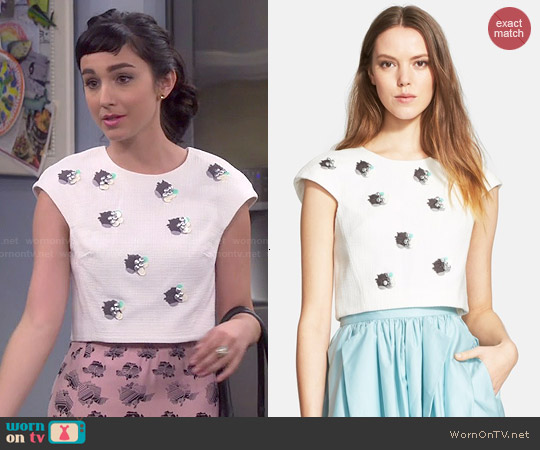 Tibi Nuage Beaded Crop Top worn by  Molly Ephraim on Last Man Standing