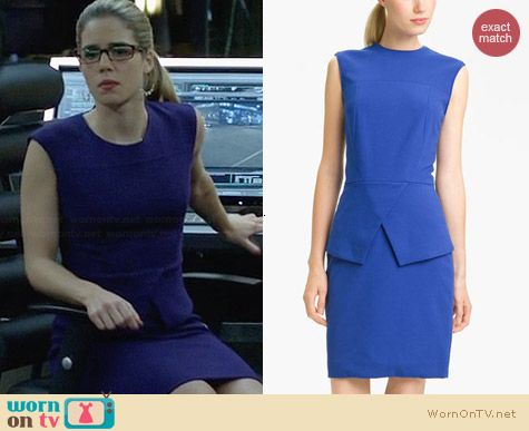 Tibi Peplum Ponte Dress worn by Emily Bett Rickards on Arrow