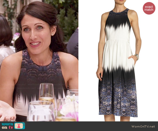 Tibi Printed Silk Dress worn by Lisa Edelstein on GG2D