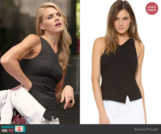 Tibi V-neck Peplum Top worn by Eliza Coupe on Benched