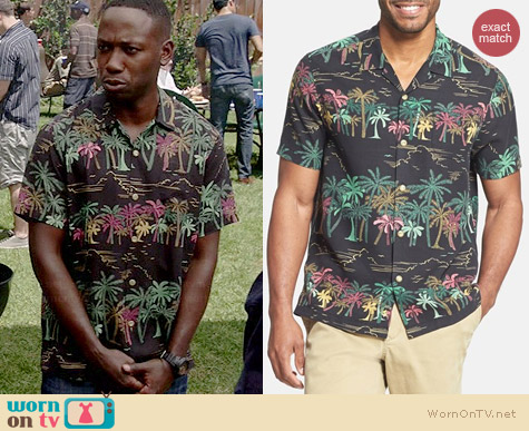 Wornontv Winston S Black Tropical Palm Tree Print Shirt