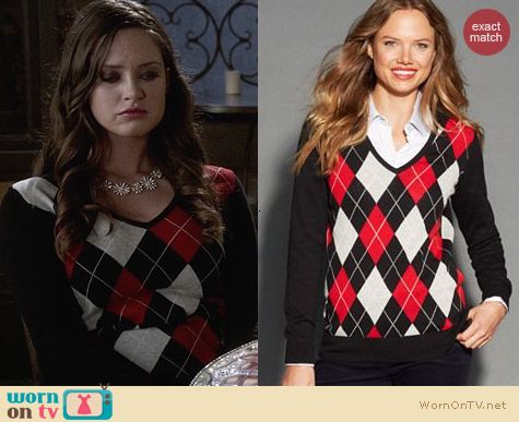 Tommy Hilfiger Argyle Sweater worn by Merritt Patterson on Ravenswood
