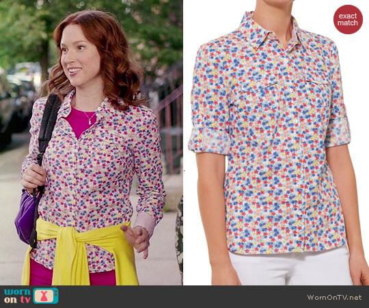 Tommy Hilfiger Floral Shirt worn by Ellie Kemper on Unbreakable Kimmy Schmidt