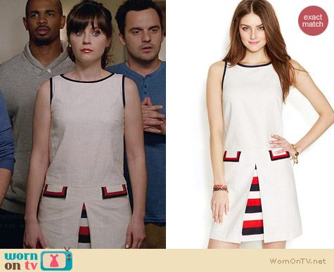 Tommy Hilfiger Inverted Pleat Shift Dress worn by Zooey Deschanel on New Girl