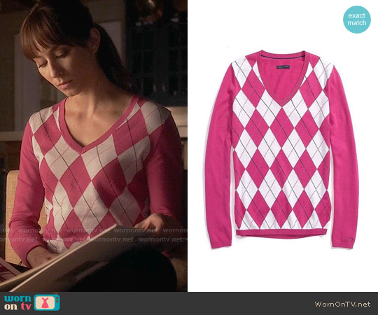 Tommy Hilfiger Argyle V-neck Sweater worn by Troian Bellisario on PLL