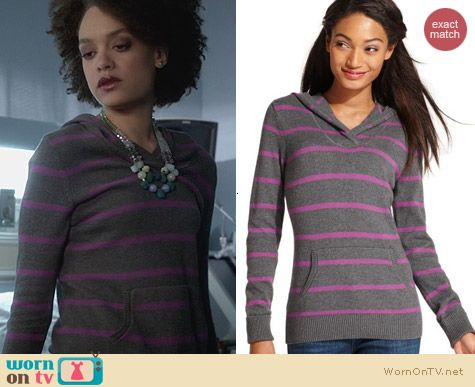 Tommy Hilfiger Pink Striped Sweater worn by Britne Oldford on Ravenswood