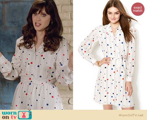 Tommy Hilfiger Polka Dot Shirtdress worn by Zooey Deschanel on New Girl