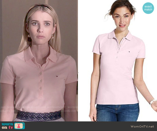 Tommy Hilfiger Short-Sleeve Polo Top in New Ballerina Pink worn by Emma Roberts on Scream Queens