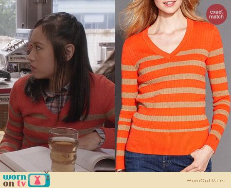 Tommy Hilfiger Striped V-Neck Cable Knit Sweater in Fiesta Orange worn by Jill Wong on The Carrie Diaries
