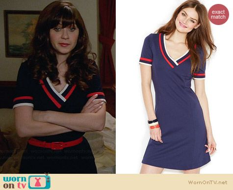 Tommy Hilfiger Short Sleeve V-Neck Dress worn by Zooey Deschanel on New Girl
