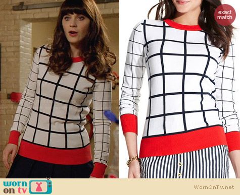 Tommy Hilfiger Windowpane Sweater worn by Zooey Deschanel on New Girl