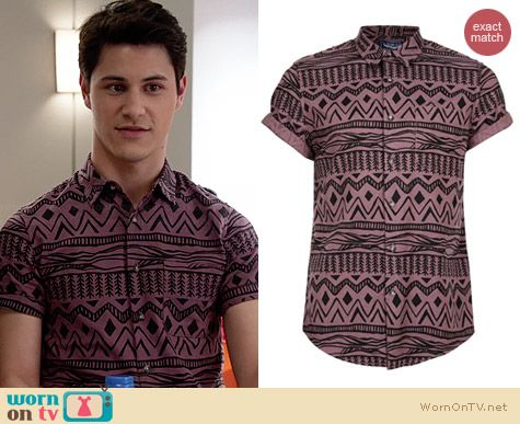 Topman Aztec Print Short Sleeve Shirt worn by Michael Willett on Faking It