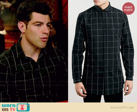 Topman Black Check Longline Shirt worn by Max Greenfield on New Girl