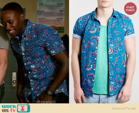 Topman Blue Floral Short Sleeve Shirt worn by Lamorne Morris on New Girl