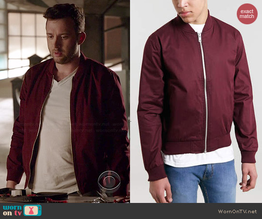 Topman Burgundy Bomber Jacket worn by Eddie Kaye Thomas on Scorpion