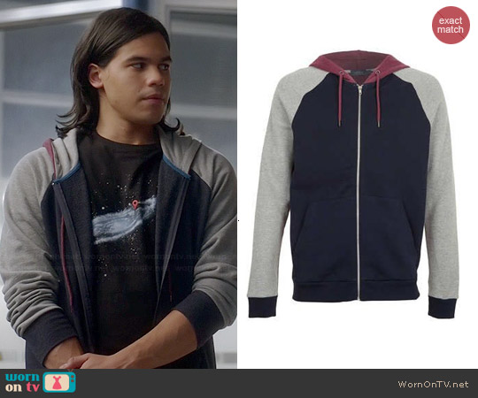 Topman Colorblock Hoodie worn by Carlos Valdes on The Flash