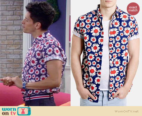 Topman Daisy Print Shirt worn by Miguel Pinzon on Mystery Girls