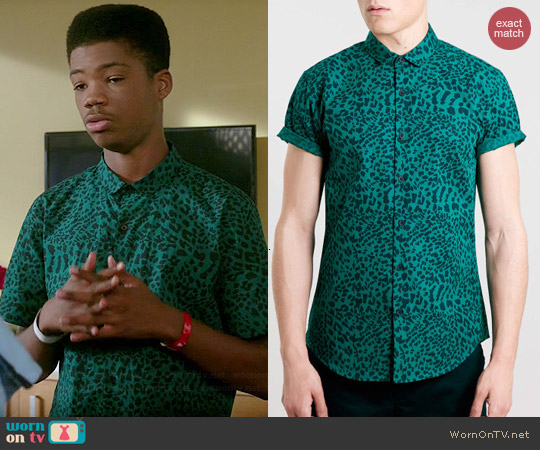 Topman Short Sleeve Leopard Print Shirt worn by Astro on Red Band Society