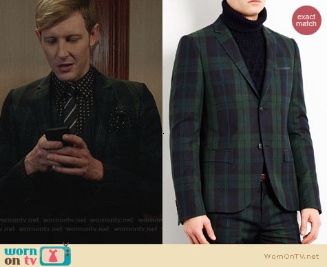 Topman Green and Navy Checked Skinny Suit Jacket worn by Gabriel Mann on Revenge