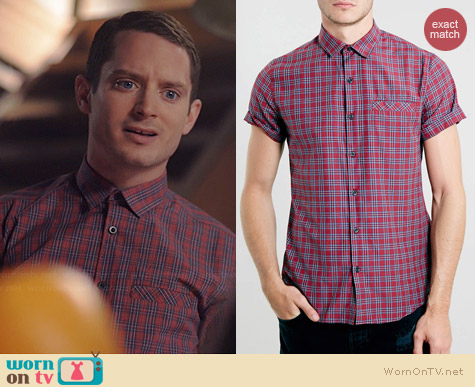 Topman Tartan Short Sleeve Smart Shirt worn by Elijah Wood on Wilfred