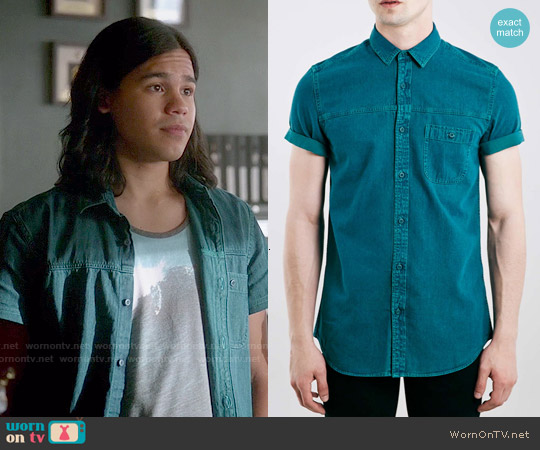 Topman Teal Grunge Denim Short Sleeve Casual Shirt worn by Carlos Valdes on The Flash