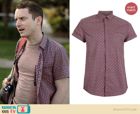 Topman Tile Print Short Sleeve Shirt worn by Elijah Wood on Wilfred