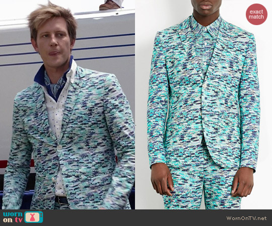 Topman Turquoise Nest Print Skinny Suit worn by Gabrielle Mann on Revenge