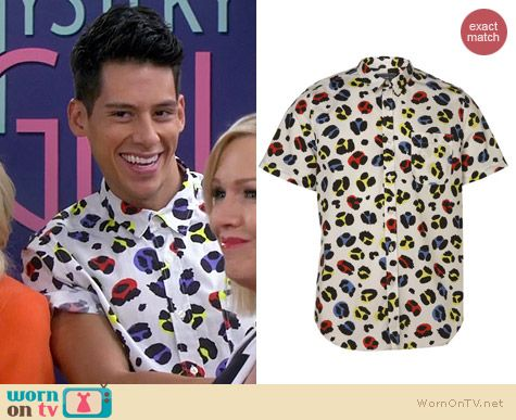 Topman White Leopard Print Short Sleeve Shirt worn by Miguel Pinzon on Mystery Girls
