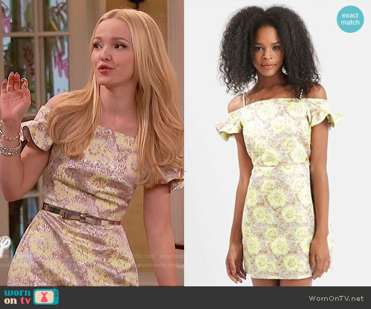 Topshop Floral Frill Bardot Dress worn by Dove Cameron on Liv & Maddie