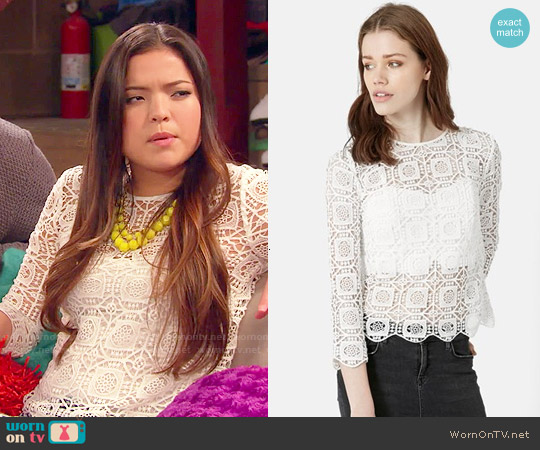 Topshop Three-Quarter Sleeve Crochet Top worn by Piper Curda on IDDI