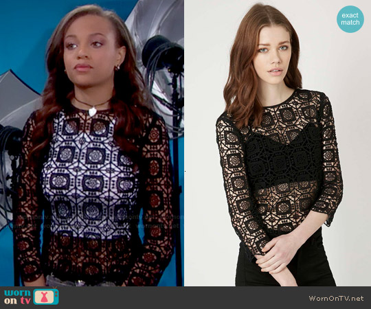 Topshop 3/4 Sleeve Crochet Top worn by Reign Edwards on The Bold & the Beautiful