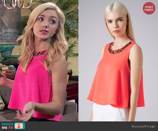Topshop Emellished Neck Swing Shell Top worn by Peyton List on Jessie