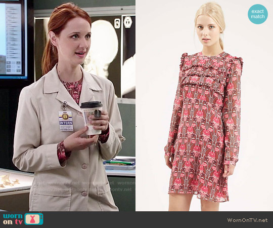 Topshop Floral Print Ruffle Dress worn by Laura Spencer on Bones