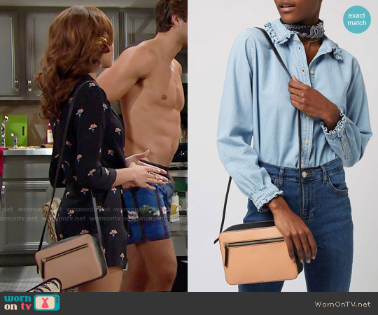 Topshop Leather Boxy Cross Body Bag worn by Nicole Avant on The Bold & the Beautiful
