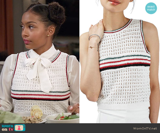 Topshop Stripe Front Crochet Tank worn by Yara Shahidi on Blackish