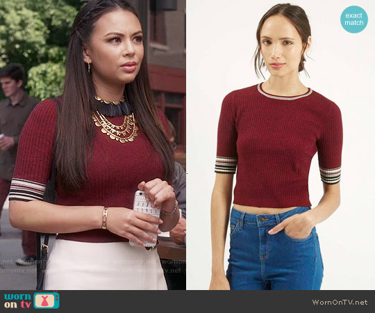 Topshop Stripe Tipped Trim Crop Top worn by Janel Parrish on PLL