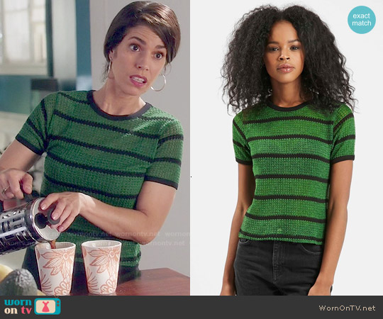 Topshop Striped Knit Tee worn by Ana Ortiz on Devious Maids