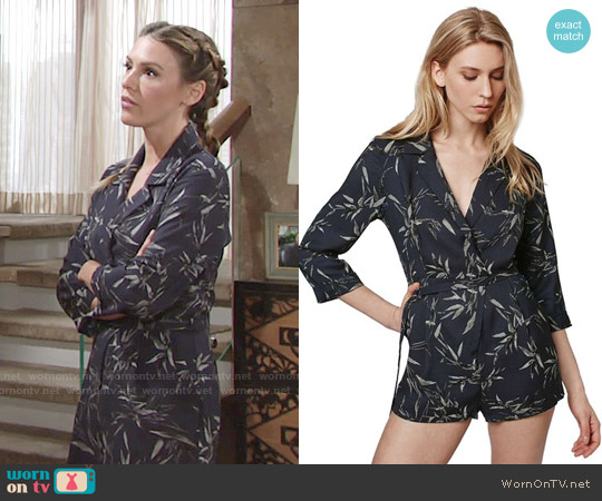 Topshop 'Alexa' Three-Quarter Sleeve Leaf Romper worn by Elizabeth Hendrickson on The Young & the Restless