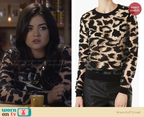 Topshop Animal Print Burnout Top worn by Lucy Hale on PLL