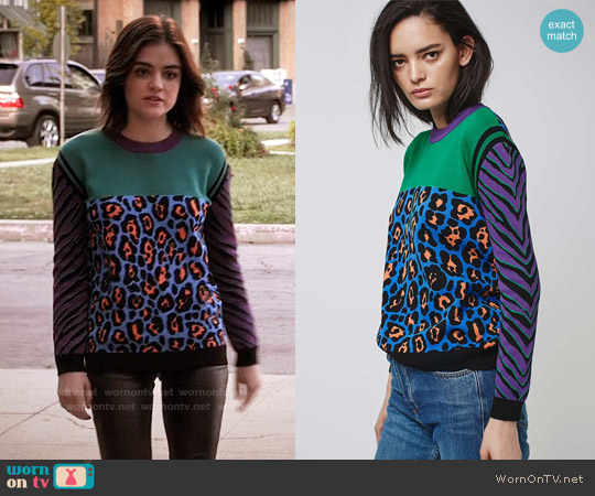 Topshop Animal Print Colorblock Jumper worn by Lucy Hale on PLL