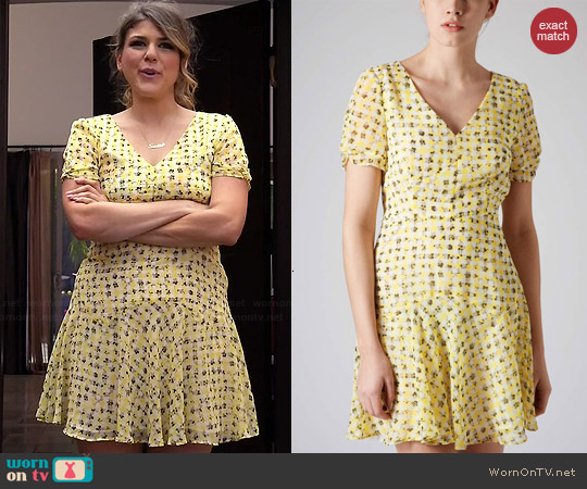 Topshop Annabel Gingham Floral Dress worn by Molly Tarlov on Awkward