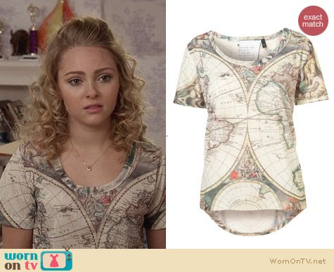 Topshop Atlas Map Tee worn by AnnaSophia Robb on The Carrie Diaries