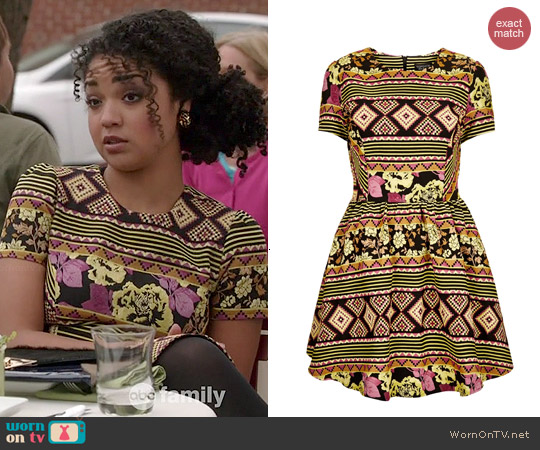 Topshop Aztec Jacquard Flippy Dress worn by Aisha Dee on Chasing Life