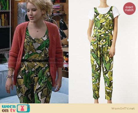 Topshop Banana Leaf Jumpsuit worn by Taylor Sprietler on Melissa & Joey