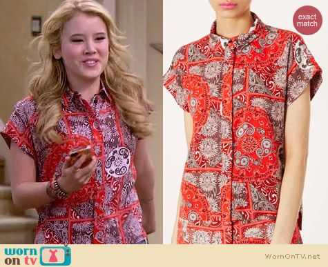 Topshop Bandana Print Shirt worn by Taylor Sprietler on Melissa & Joey