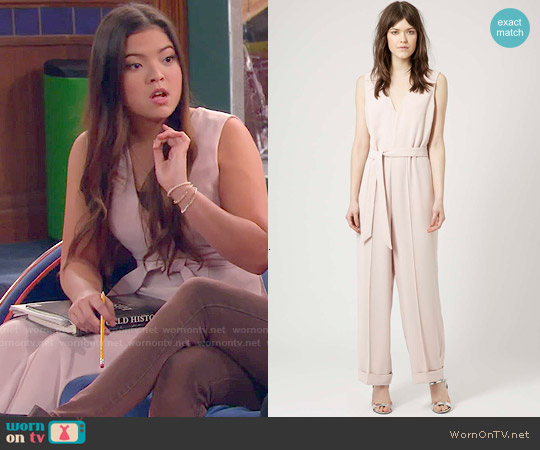 Topshop Belted Wide Leg Jumpsuit worn by Piper Curda on IDDI