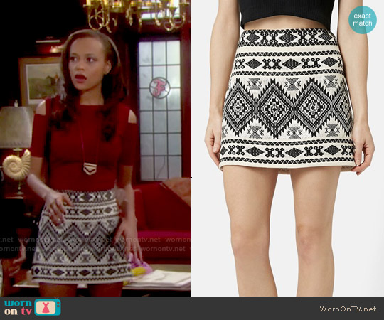 Topshop Blanket A-Line Skirt worn by Nicole Avant on The Bold & the Beautiful